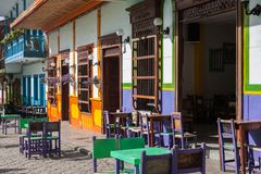 Colorful houses in Jardin, Antoquia, Colombia. Colorful houses in colonial city Jardin, Antoquia, Colombia, South America Stock Photo