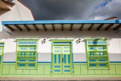 Colorful houses in Jardin, Antoquia, Colombia. Colorful houses in colonial city Jardin, Antoquia, Colombia, South America Royalty Free Stock Photos