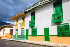 Colorful houses in Jardin, Antoquia, Colombia. Colorful houses in colonial city Jardin, Antoquia, Colombia, South America Royalty Free Stock Photo
