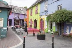 Colorful houses Kinsale, Ireland. Colorful houses, flower pots,  Kinsale, Ireland Royalty Free Stock Photos