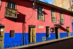 Colorful houses, La Candelaria, Bogota. In the historic district of La Candelaria in downtown Bogota, Colombia, there are many beautifully restored colorful Stock Photography