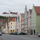 Colorful houses at Landshut street, Germany Stock Photography