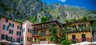 Colorful houses in Limone sul Garda royalty free stock photos