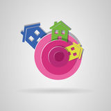 Colorful houses logo. Royalty Free Stock Photo