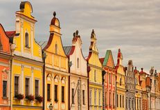 Colorful houses in the main square of the city Telc are the main tourist attraction of the city. A UNESCO World Heritage Site. Telc, Southern Moravia, Czech royalty free stock image