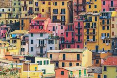 Colorful houses in Manarola, Cinque Terre - Italy. Colorful houses in Manarola Village, Cinque Terre Coast of Italy. Manarola is a beautiful small town in the stock photo