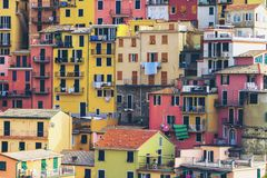 Colorful houses in Manarola, Cinque Terre - Italy. Colorful houses in Manarola Village, Cinque Terre Coast of Italy. Manarola is a beautiful small town in the stock photos