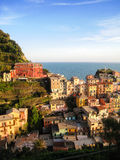 Colorful houses , Manarola, in sunshine evening. Many old colorful traditional Italian houses on hillside in Manarola, a fisherman village of Cinque Terre in the Royalty Free Stock Photography