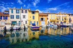 Colorful houses in Martigues Old Town, Provence, France royalty free stock photos