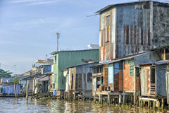 Colorful houses at the Mekong river Stock Images