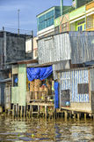 Colorful houses at the Mekong river Royalty Free Stock Photos