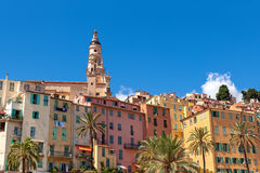 Colorful houses of Menton. Stock Photos