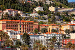 Colorful houses of Menton. Stock Images
