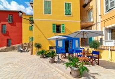 Colorful houses in Menton, France royalty free stock photography