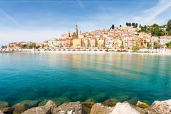 Colorful houses in Menton on french riviera. Beautiful view on old town in south france Royalty Free Stock Photography