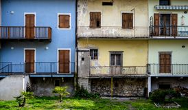 Colorful houses in Nago - Italy stock photos
