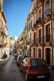 Colorful houses in narrow streets of Cagliari, Sardinia Royalty Free Stock Photos