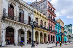 Colorful houses near Capitolio in Havana, Cuba. Colorful houses near Capitolio in Havana, the capital of Cuba Royalty Free Stock Photos