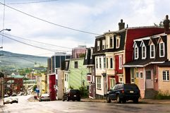 Colorful houses in Newfoundland. Street with colorful houses in St. John's, Newfoundland, Canada Royalty Free Stock Photo