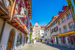 Colorful houses in old city center of Stein am Rhein village Royalty Free Stock Photography