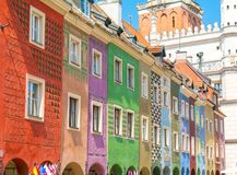 Colorful houses on Old Market Square in Poznan, Poland stock photography