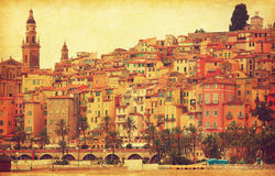Colorful houses in old part of Menton. Royalty Free Stock Image