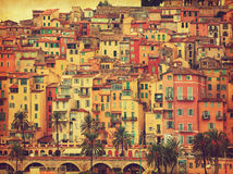 Colorful houses in old part of Menton, France. Royalty Free Stock Images