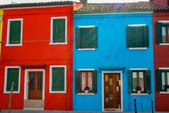 Burano. Colorful houses in the old town of Burano, a little island  in Venice lagoon, Italy Stock Photos