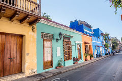 Colorful houses in the old town Cartagena, Colombia Royalty Free Stock Photos