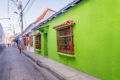 Colorful houses in the old town Cartagena, Colombia Royalty Free Stock Image