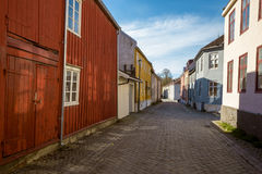 Colorful houses in old town of Trondheim stock photography