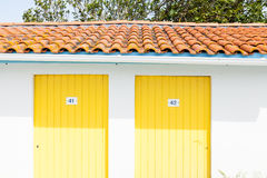 Colorful houses of oyster farmers and fishermen in the Bay of Arcachon Stock Image