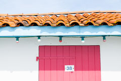 Colorful houses of oyster farmers and fishermen in the Bay of Arcachon Stock Photography