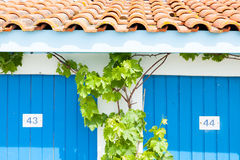 Colorful houses of oyster farmers and fishermen in the Bay of Arcachon Royalty Free Stock Photos