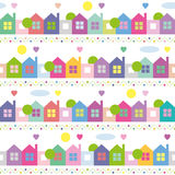 Colorful houses pattern. Blue orange purple pink and green houses trees hearts sun dots and clouds illustration on white background Stock Photos
