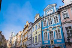 Colorful houses in prague stock images