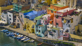 Colorful houses of procida italy Stock Photos
