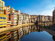 Colorful houses reflected in water, Girona, Catalonia, Spain Royalty Free Stock Photography