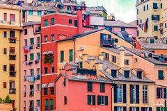 Colorful houses residential genoese architecture. Royalty Free Stock Photo