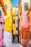 Colorful houses of residential street in Venice, Italy Stock Images
