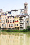 Colorful Houses on the River Arno in Florence Stock Image