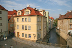Colorful houses at the river Certovka (the Davil's Stream), Kampa Island in Prague, Czech Republic Royalty Free Stock Photography