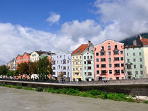 Colorful houses on a riverside, Innsbruck, Austria Stock Image