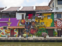 Colorful houses at the riverside, Melaka Royalty Free Stock Photo