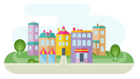 Colorful Houses And Road Royalty Free Stock Photo