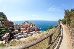 Colorful houses on a rock near the sea in Manarola, Cinque Terre. Italy royalty free stock photos