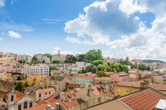 Colorful houses and roofs in Lisbon city. Lisbon, Portugal - April 22, 2014: Colorful and old houses and roofs in Lisbon city, Portugal Stock Image
