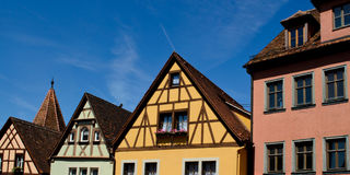 Colorful houses at Rothenburg ob der Tauber Stock Photos