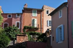 Colorful houses in Roussillon Stock Images