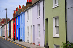 Colorful houses on a row in a Brighton street. United Kingdom Royalty Free Stock Image